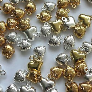 80 Assorted 7-11mm Puff Heart Charms